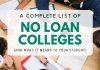A Total List of No Loan Colleges (and What it Suggests to Your Trainee)